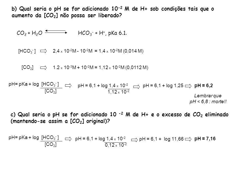 b) Qual seria o pH se for adicionado 10-2 M de H+ sob condições tais que o aumento da [CO2] não possa ser liberado